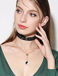 Mulheres Colares com Pendentes Colar Obsidiana Cruz Multi Camadas Metálico Imitação de Pérola Liga Formato de Cruz ParaFesta de Noite
