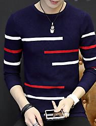 Lungo Pullover Da uomo-Casual Tinta unita Rotonda Manica lunga Cotone Autunno Inverno Medio spessore Media elasticità