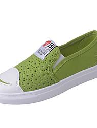 Для женщин Мокасины и Свитер Удобная обувь Полотно Лето Повседневные Для прогулок На плоской подошве Белый Черный Желтый Зеленый4,5 - 7