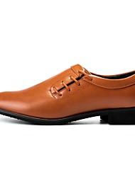 Masculino sapatos Pele Real Couro Couro Ecológico Primavera Outono Conforto Sapatos formais Oxfords Para Casual Festas & Noite Preto