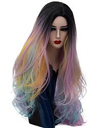 жен. Парики из искусственных волос Без шапочки-основы Длиный Естественные волны Розовое золото Волосы с окрашиванием омбре Парик из