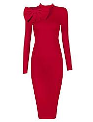 Moulante Robe Femme Sortie Couleur Pleine Col Ras du Cou Midi Mini Sans Manches Polyester Printemps Automne Taille Haute Elastique Moyen