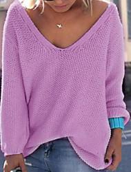 Для женщин На выход На каждый день Простое Обычный Пуловер Однотонный,V-образный вырез Длинный рукав Акрил Осень Толстая Слабоэластичная