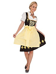 Une Pièce/Robes Costumes de Cosplay Tenue Fête d'Octobre/Bière Cosplay Fête / Célébration Déguisement d'Halloween Jaune Rétro Robes