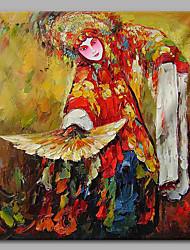 Peint à la main Ethnique Artistique Bureau / Affaires Style Chinois Un Panneau Toile Peinture à l'huile Hang-peint For Décoration