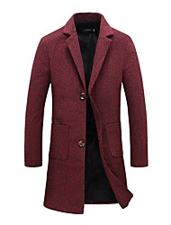 Men's Plus Size England Style Slim High Quality Single Breasted Woolen Coat