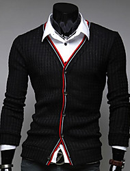 Men's Casual/Daily Simple Regular Cardigan,Solid Striped V Neck Long Sleeves Cotton Spring Fall Medium Micro-elastic