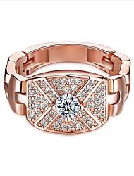 Mulheres Anéis de Casal Zircônia Cubica Hipoalergênico Clássico Moda Personalizado Zircão Ouro Rose Jóias ParaCasamento Recém-Nascido