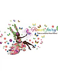 Flowers Fairy Swing Girl Beauty Wall Stickers Floral Beautiful Faery Quote Bloom Wall Decals Home Decor For Baby Kids Room Living Room