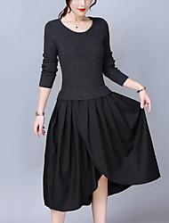 Trapèze Tricot Robe Femme Sortie Grandes Tailles simple,Mosaïque Col Arrondi Asymétrique Manches Longues Acrylique Polyester Automne Hiver