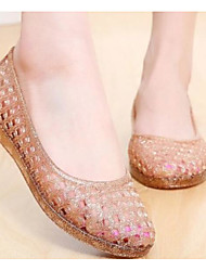 Women's Sandal Comfort Jelly Shoe Summer PVC Leather Casual Peach Black Gold Under 1in
