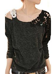 Damen Solide Einfach Lässig/Alltäglich T-shirt,Asymmetrisch Frühling Langarm Baumwolle Mittel
