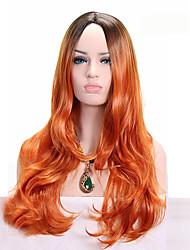 Moyen Orange Ondulés Cheveux Synthétiques Sans bonnet Perruque de Cosplay