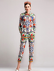 Dámské Jednobarevné Květinový Běžné/Denní Jednoduchý Tričko Kalhoty Obleky-Podzim Košilový límec Dlouhý rukáv