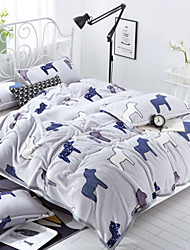 Coral fleece Animals Polyester/Cotton Blend Blankets