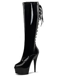 Mujer Botas Botas de Moda PU Invierno Fiesta y Noche Cremallera Tacón Stiletto Negro Gris 12 cms y Más