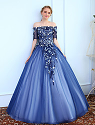 Ball Gown Off-the-shoulder Floor Length Tulle Prom Formal Evening Dress with Beading Lace by MMHY