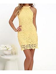 Ample Robe Femme Décontracté / Quotidien simple,Couleur Pleine A Bretelles Au dessus du genou Sans Manches Coton Eté Taille Normale