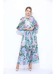 STEPHANIE Women's Going out Casual/Daily Simple Cute Loose Sheath Dress,Floral Round Neck Maxi Long Sleeves Silk Summer Mid Rise Micro-elasticSheer
