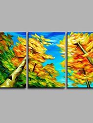 Pintados à mão Botânico Artistíco Abstracto Inspirado da Natureza Moderno/Contemporâneo Escritório/Negócio Natal Ano Novo 3 Painéis Tela