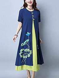 Для женщин На каждый день Шинуазери (китайский стиль) Свободный силуэт Платье Цветочный принт,Круглый вырез Макси С короткими рукавами