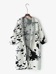 Для женщин На выход На каждый день Простое Длинный Кардиган С принтом,Свободный вырез Длинный рукав Искусственный шёлк Полиэстер Нейлон