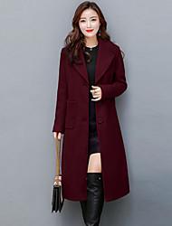Для женщин На выход Большие размеры Осень Зима Пальто Рубашечный воротник,Уличный стиль Изысканный Однотонный Длинная Длинный рукав,