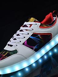 Homme Baskets Chaussures Lumineuses Similicuir Automne Hiver Décontracté Soirée & Evénement LED Talon Bas Blanc Noir Moins de 2,5 cm