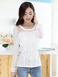 Damen Druck Einfach Lässig/Alltäglich T-shirt,Rundhalsausschnitt Langarm Polyester