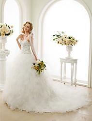 Princesse Sans Bretelles Traîne Cathédrale Dentelle Satin Tulle Tricot Robe de mariée avec Billes Appliques Volants en cascade par