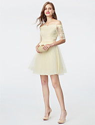 A-Line Princess Off-the-shoulder Short / Mini Lace Tulle Cocktail Party Homecoming Dress with Sash / Ribbon by TS Couture®