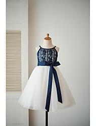 um vestido de menina de flor de joelho com uma linha de joias - tiras de espaguete sem têxteis com tiras de renda com fita por thstylee