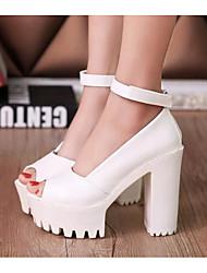 Femme Chaussures à Talons Confort Escarpin Basique Polyuréthane Eté Décontracté Blanc Noir 5 à 7 cm
