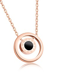 Little girl xiang adorn the Roman numeral double black and white shell circle rose gold titanium steel pendant necklace