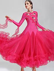 Danse de Salon Robes Femme Spectacle Polyester Spandex 2 Pièces Manche longue Robes Tour de Cou