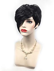 Парики из искусственных волос Без шапочки-основы Короткий Черный Боб с прямым пробором Парик из натуральных волос Карнавальные парики