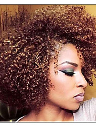 1pack Kinky Curly Sew in Weave 8inch synthetic Afro jerry Curly Weaving two tones burg marley Curly weft Machine Double Hair wevy 3-5packs/head