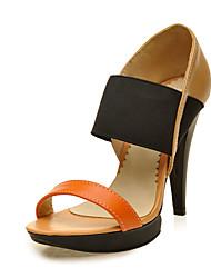 Mujer Zapatos Semicuero Verano D'Orsay y Dos Piezas Tacones Puntera abierta Combinación Para Casual Vestido Beige Azul Color Camello