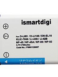 Ismartdigi EL10 3.7V 750mAh Camera Battery for Nikon EN-EL10 S200 S230 S3000 S4000 S700 NP45 40B 42B