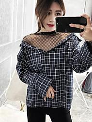 Chemise Femme,Damier Décontracté / Quotidien simple Manches Longues Drapé Coton