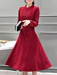 Mujer Vaina Vestido Noche Tallas Grandes Simple,Estampado Escote Chino Midi Manga Larga Licra Otoño Tiro Medio Rígido Medio