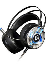 AJAZZ AX360 Bandana Com Fio Fones Dinâmico Aço Inoxidável Games Fone de ouvido Dual Drivers Isolamento de ruído Com Microfone Com