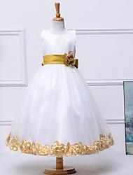 um vestido de menina de flor de comprimento de tornozelo de uma linha - cetim de jóia sem mangas sem mangas com cetim por baihe