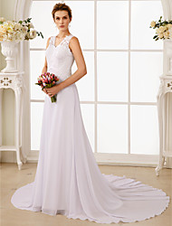 A-line Sweetheart Sweep / Brush Train Chiffon Wedding Dress with Beading by LAN TING BRIDE®