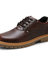 Men's Oxfords Comfort Spring Summer Fall Winter Synthetic Microfiber PU Work & Safety Lace-up Low Heel Dark Brown Light Brown Black Under