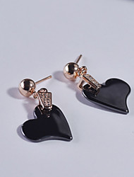 Women's Stud Earrings Cubic Zirconia Hypoallergenic Simple Style China Sterling Silver Heart Jewelry For Daily Office & Career