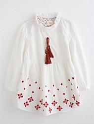 Девочки Блуза Хлопок Вышивка Осень Длинный рукав
