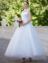 Ball Gown Illusion Neckline Floor Length Tulle Wedding Dress with Sequin Appliques by QQC Bridal