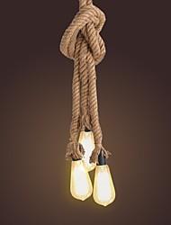 2m 3 cabezas de cuerda de cáñamo lámpara de techo colgante de luz diy estilo de país de la vendimia industrial para el restaurante café