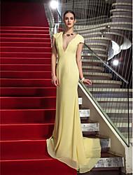 Funda / Columna Cuello en V Larga Raso Evento Formal Baile Militar Gala de Etiqueta Vestido con Plisado por TS Couture®